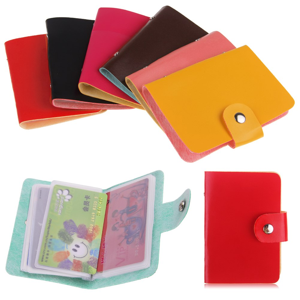 24 cards leather pocket business id credit card holder for Leather pocket business card holder
