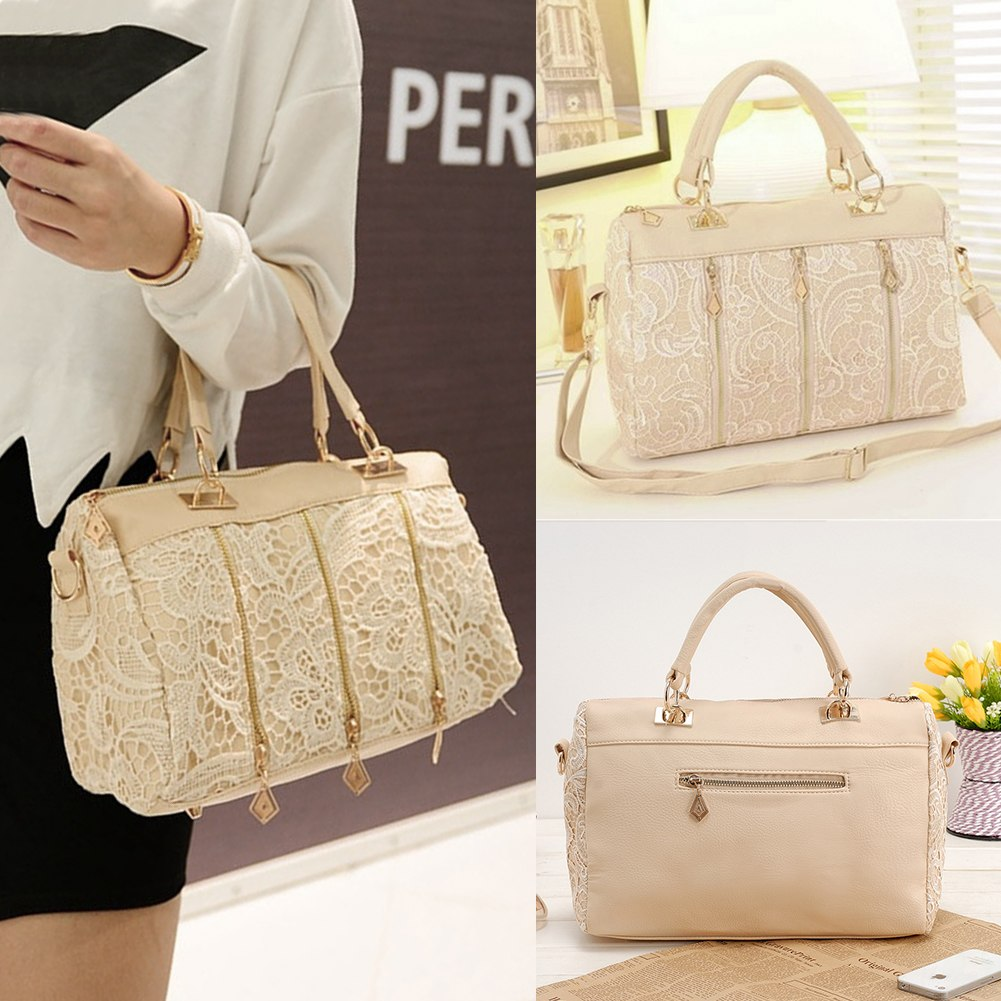 Fashion Womens Leather Messenger Bag Tote Shoulder Bag Lace Handbag Celebrity