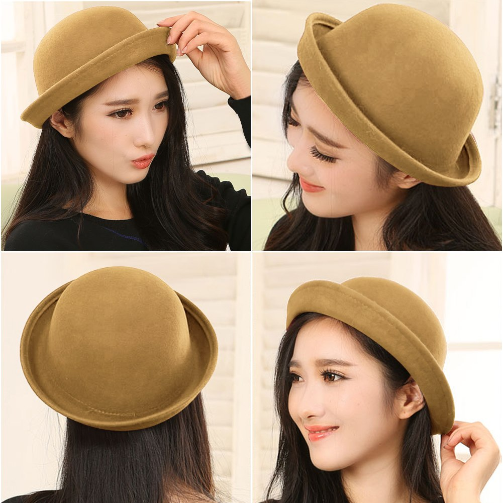 Fashion New Vintage Trendy Ladies Women Wool Felt Cloche Derby Bowler Hat Cap #A