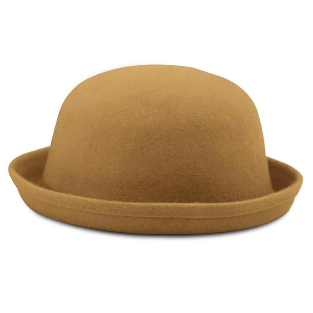 Fashion Vintage Cute Ladies Women Round Woolen Felt Cloche Derby Bowler Hat Cap