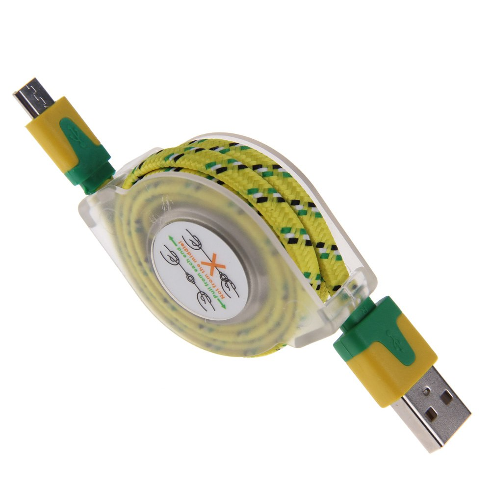Retractable Woven Braided Fabric Micro USB Data Sync Cable Charger For Phones