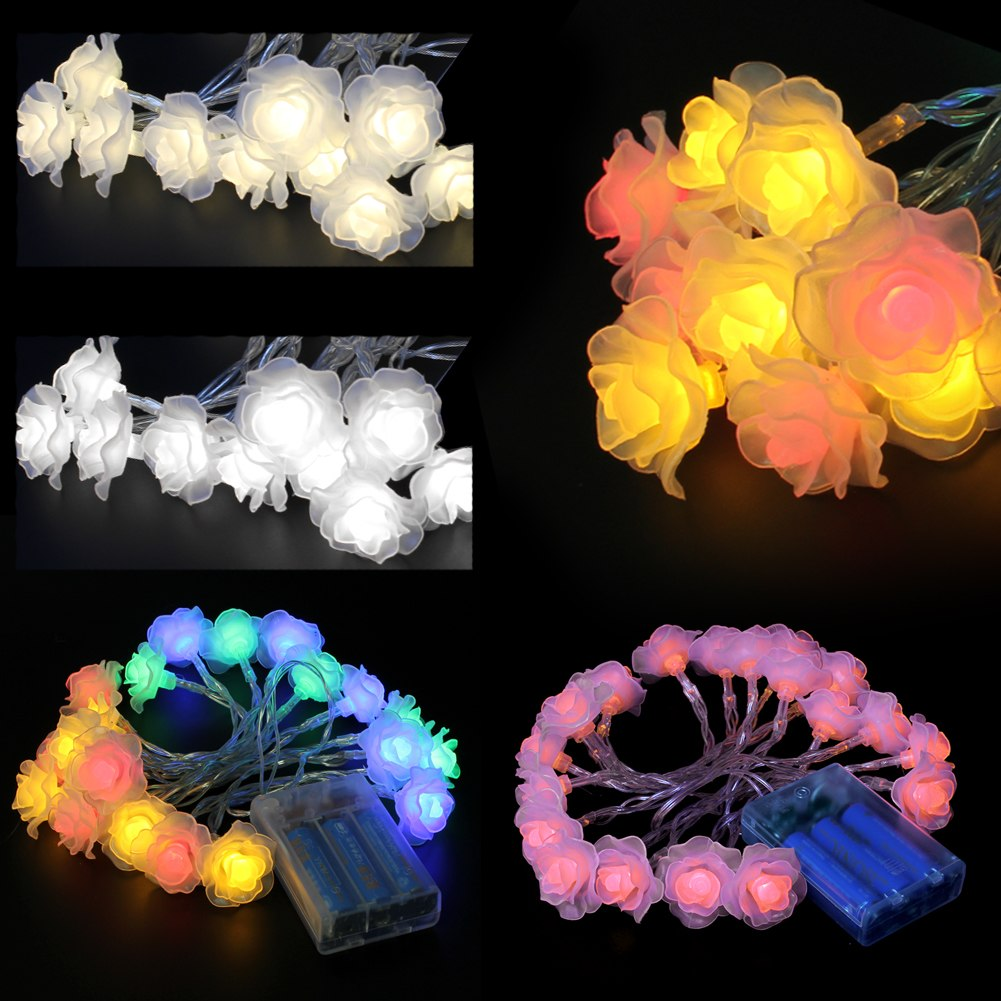 20 Rose Flower LED Battery Operated Fairy String Lights Wedding Garden Party eBay