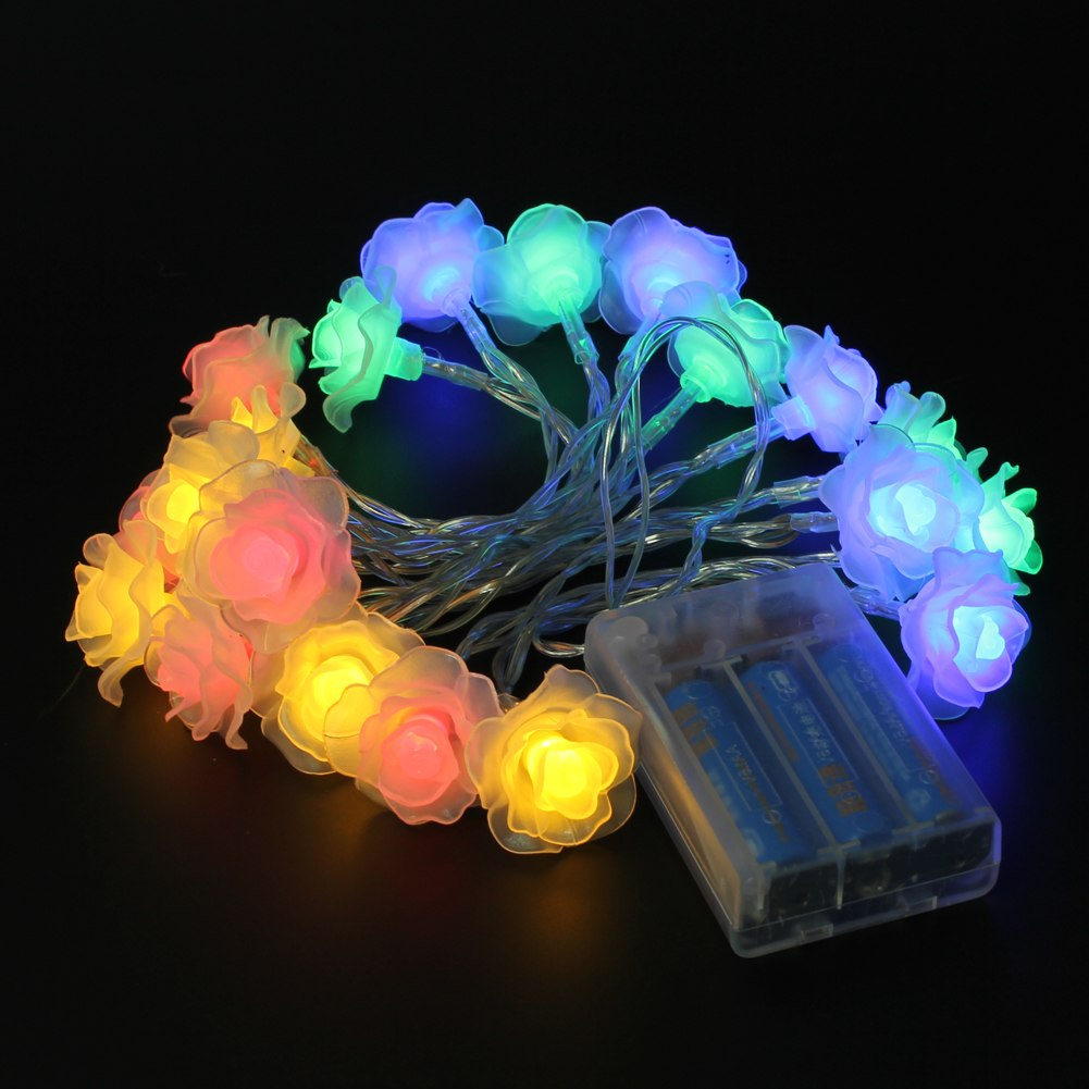 20 Rose Flower LED Battery Operated Fairy String Lights Wedding Garden Party eBay