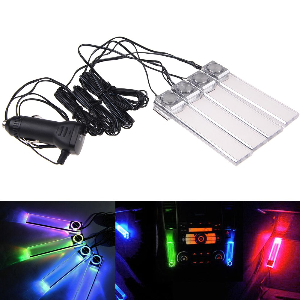 12v 4in1 car charge led interior decoration light floor atmosphere lamp light ebay. Black Bedroom Furniture Sets. Home Design Ideas