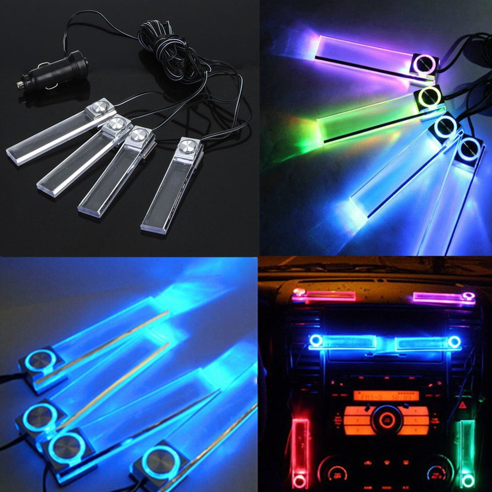 4 led car interior atmosphere floor dash light lamp car cigarette lighter 7color ebay. Black Bedroom Furniture Sets. Home Design Ideas