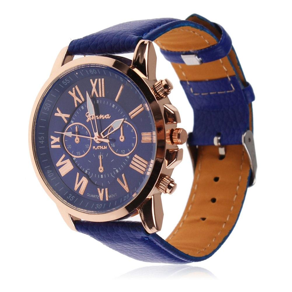 Geneva Hombres Mujer Reloj Relojes De Pulsera Cuero Correa Analog Cuarzo Watch