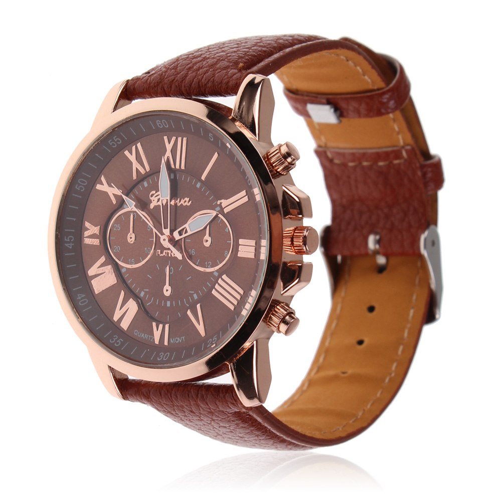 Women Boy Chic Roman Numerals Geneva Analog Quartz Wrist Watch Leather Strap