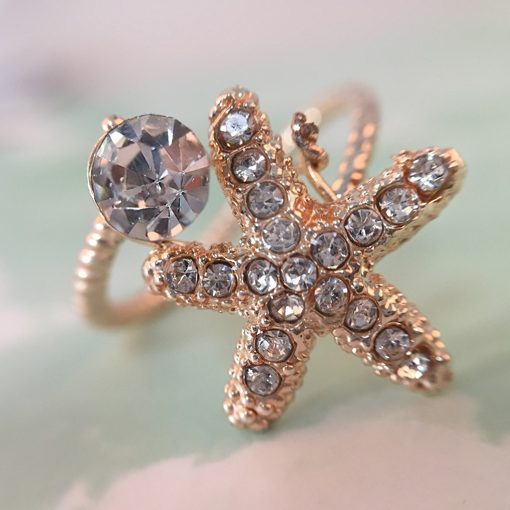 Crystal Rhinestone Finger Ring Opening Adjustable Women Rings Fashion Jewelry
