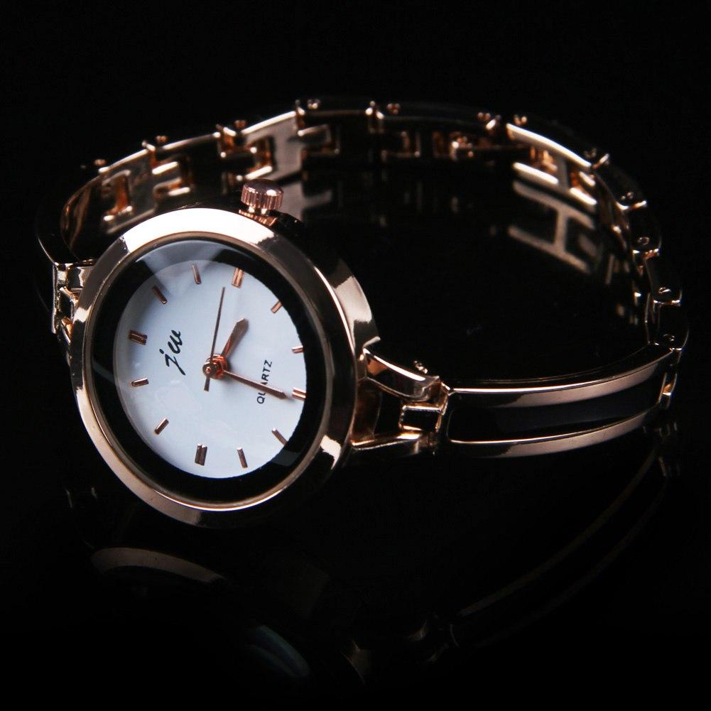 Womens Ladies Gold Silver Round Quartz Analog Fashion Dress Bracelet Wrist Watch