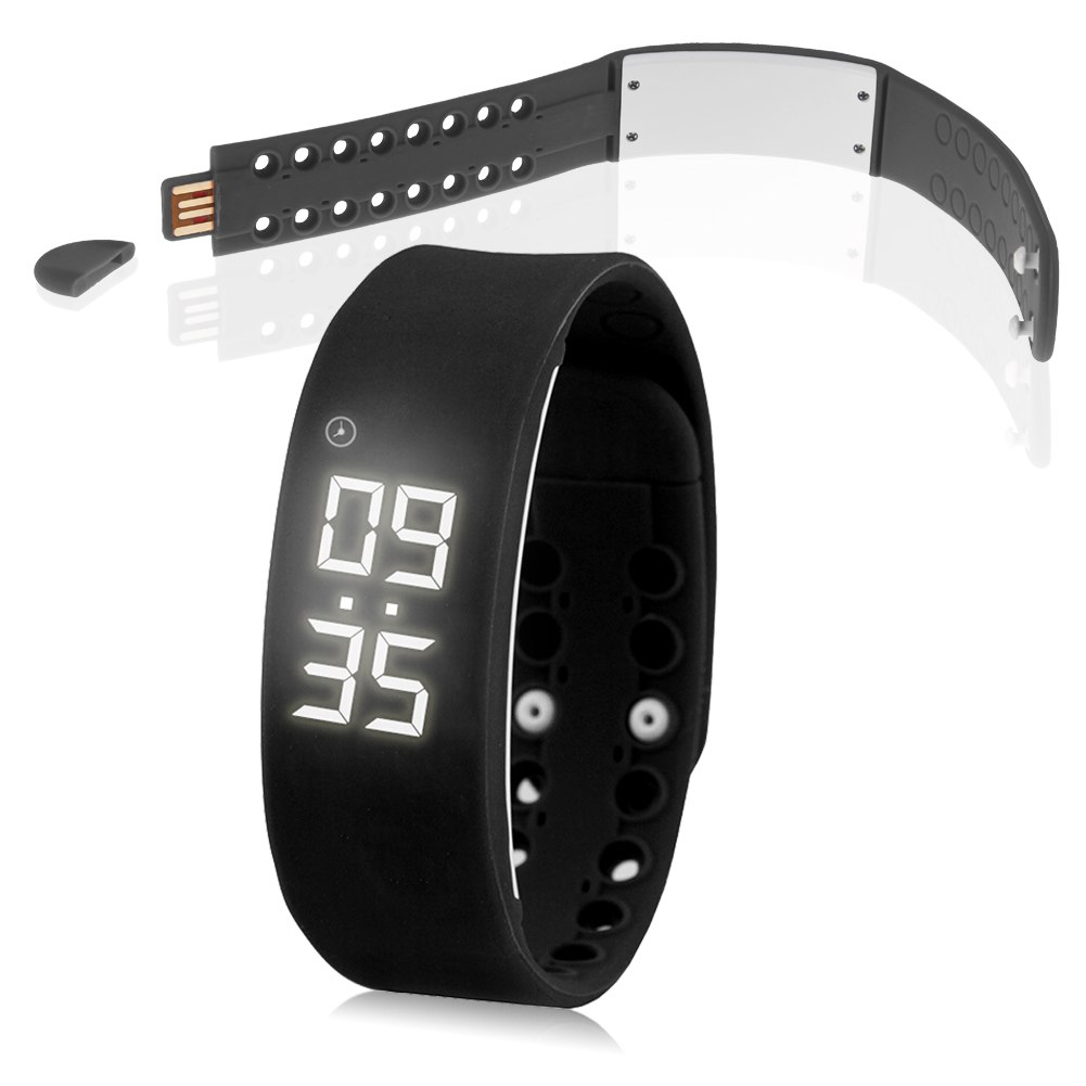 led smart armband sportuhr mit schrittz hler alarm digital. Black Bedroom Furniture Sets. Home Design Ideas