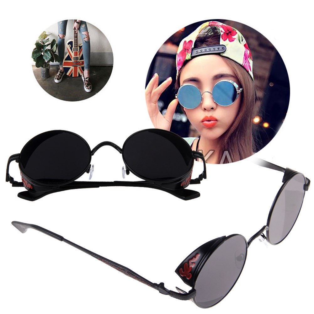 Women Fashion Steampunk Goggles Glasses Round Sunglasses Retro Vintage CyberPunk