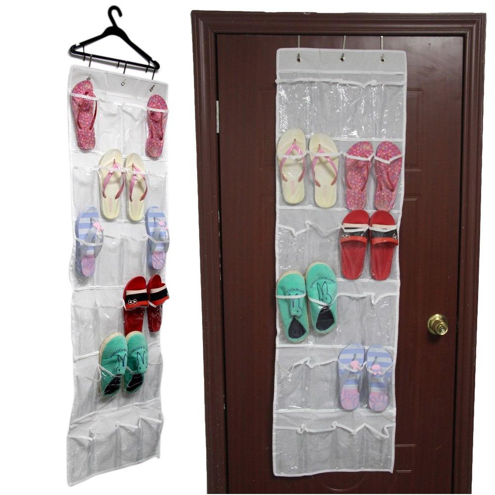 24 pockets clear over door hanging bag shoe rack hanger storage tidy organizer ebay. Black Bedroom Furniture Sets. Home Design Ideas