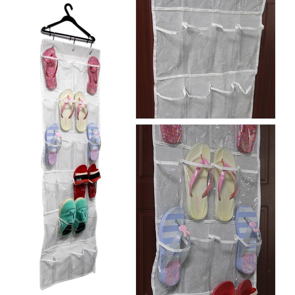 24 Pockets Clear Over Door Hanging Bag Shoe Rack Hanger