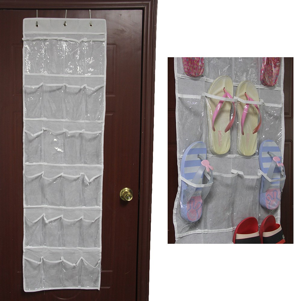 24 pocket over the door hanging holder shoe organizer rack for Door shoe organizer