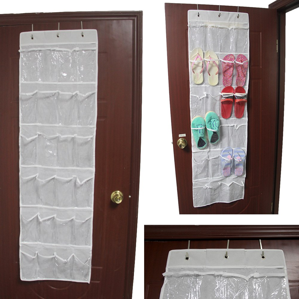 24 pocket over the door clear shoe organizer storage rack closet organizer hot ebay. Black Bedroom Furniture Sets. Home Design Ideas
