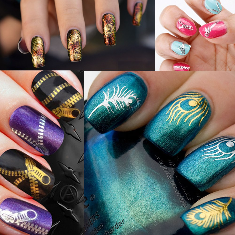 Nail Art Stickers: 28pc 3D Nail Art Tips Stickers Wraps Decal Manicure