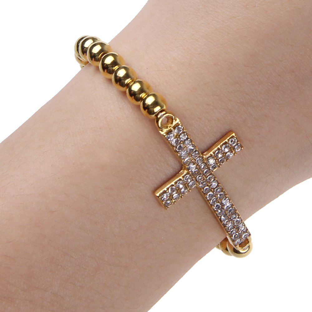 Cross Charm Bracelet: Fashion Bracelet Crystal Rhinestone Cross Love Infinity