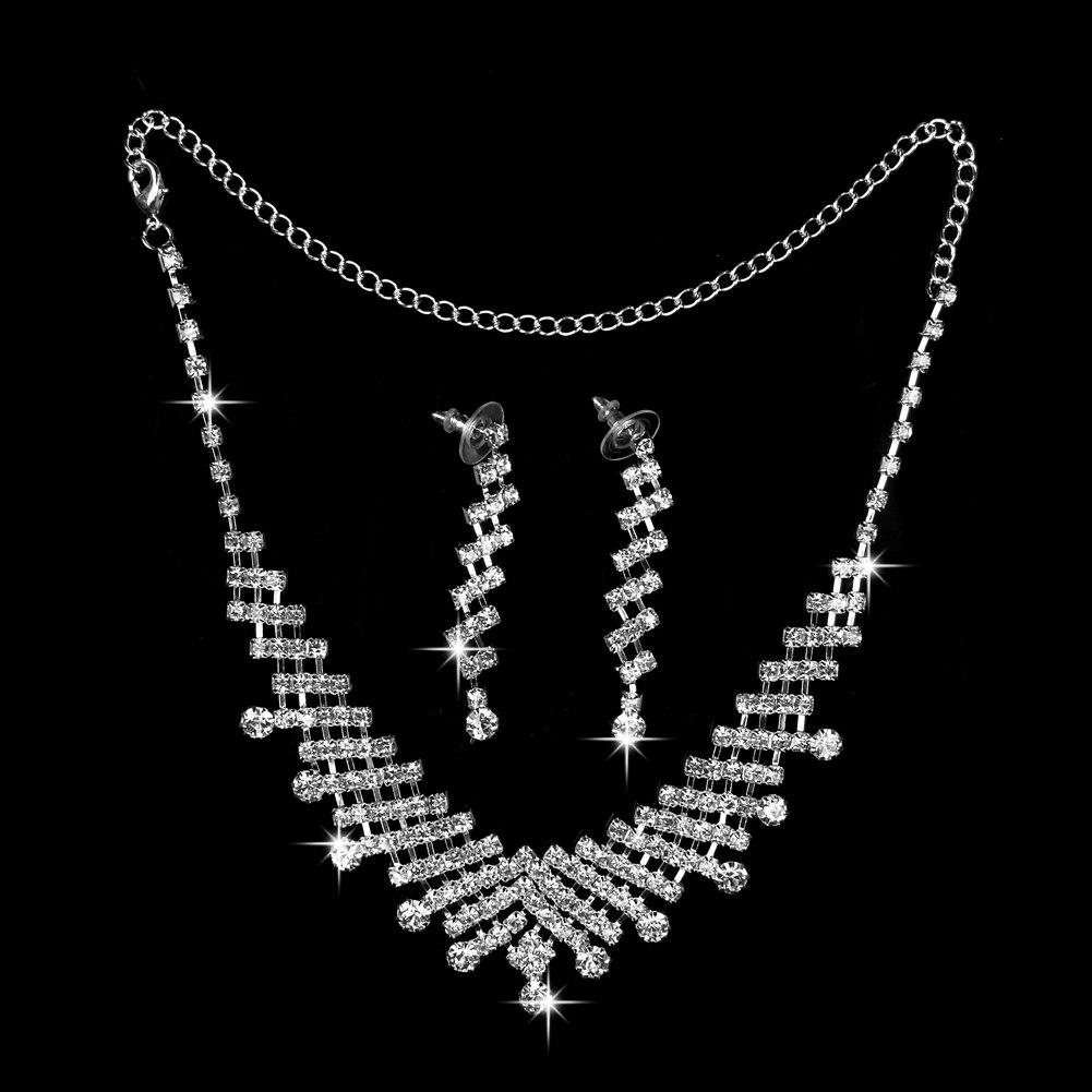 Femmes Mariage nuptiale strass cristal Collier Boucles d'oreilles Set bijoux