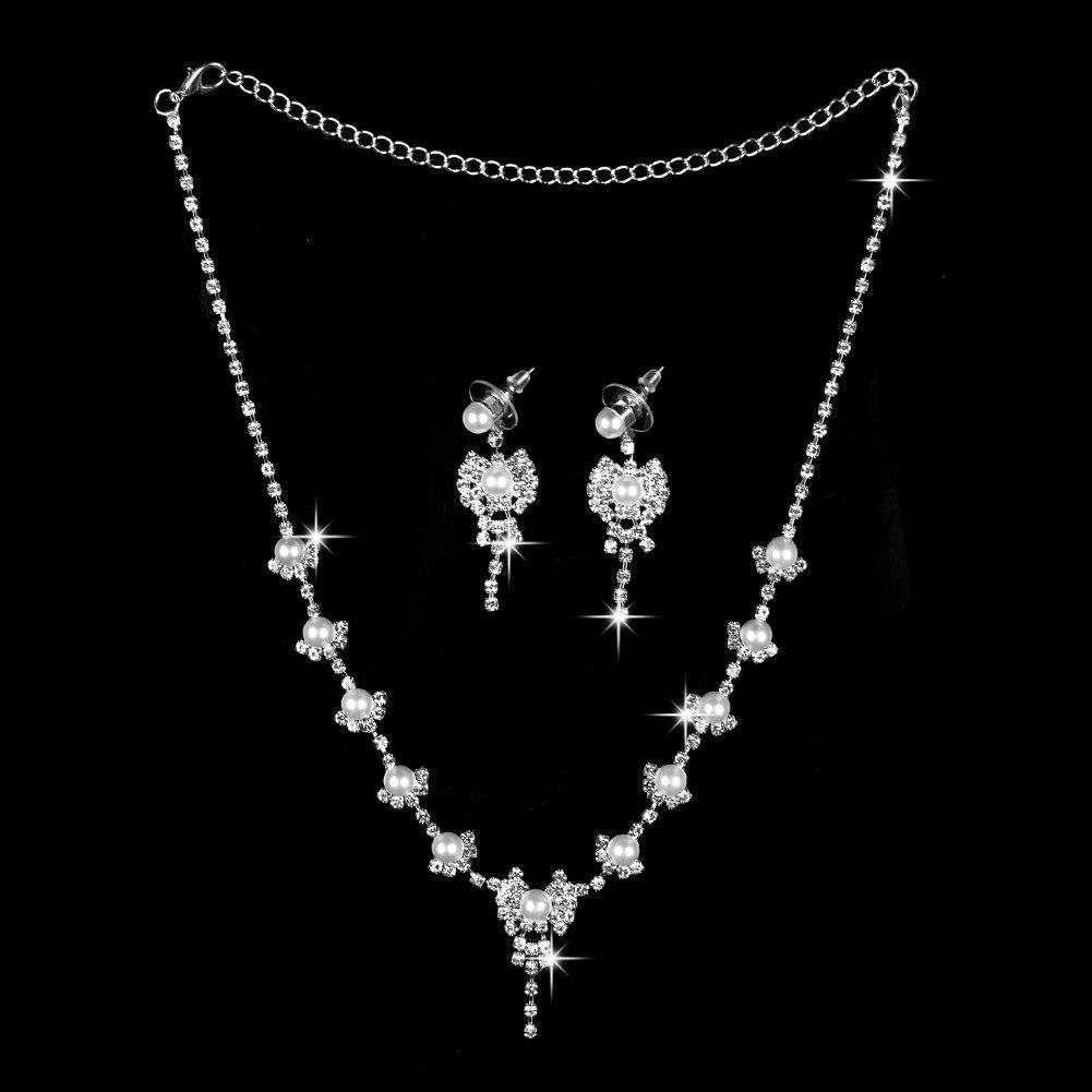 Mode Strass Halskette Ohrringe Schmuck-Set Hochzeit Braut Brautschmuck