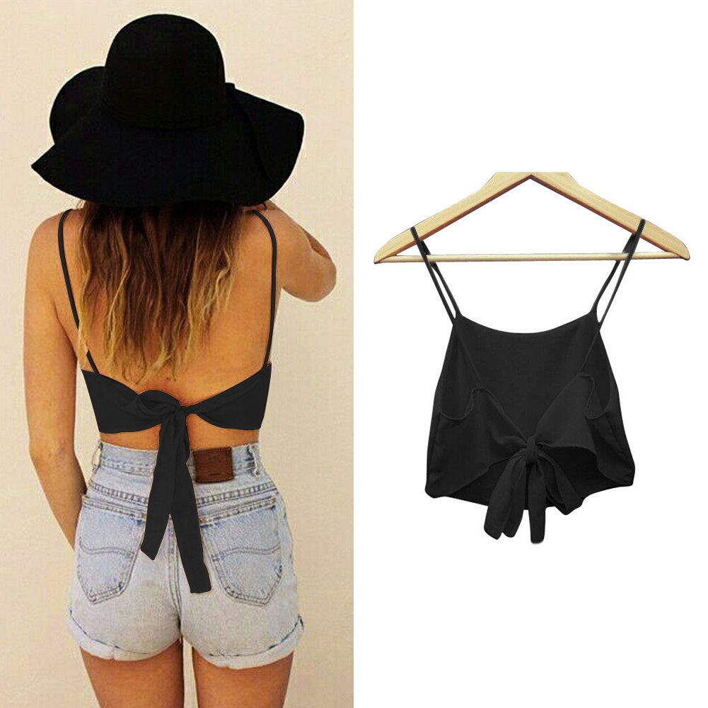Sexy Women's Backless Bandage Chiffon Crop Vest Shirt Straps Adjustable Bra Tops