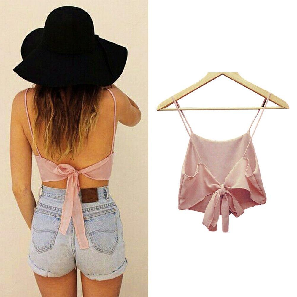 Ladies Sexy Straps Backless Camisole Crop Bralette Tops Bra Cami Tank Vest