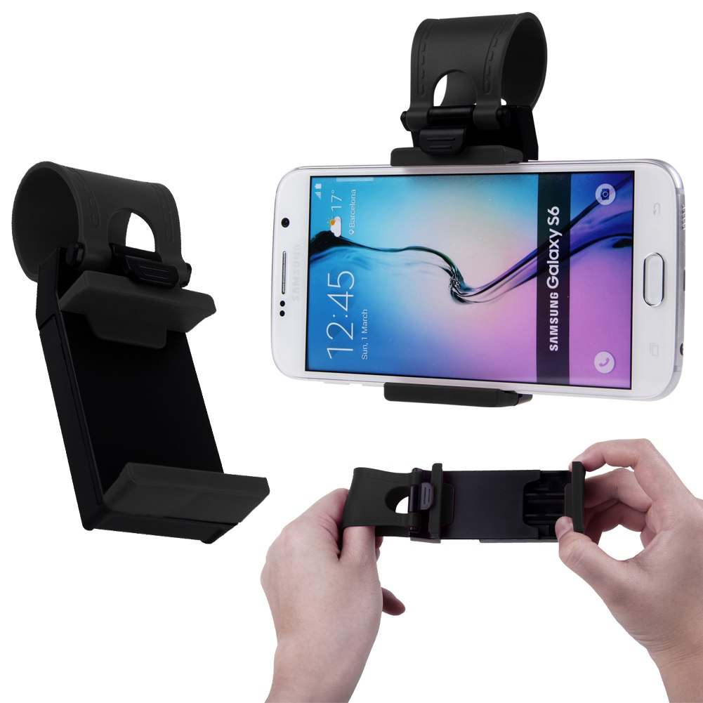 car universal steering wheel bike clip mount holder fr samsung iphone phone gps ebay. Black Bedroom Furniture Sets. Home Design Ideas
