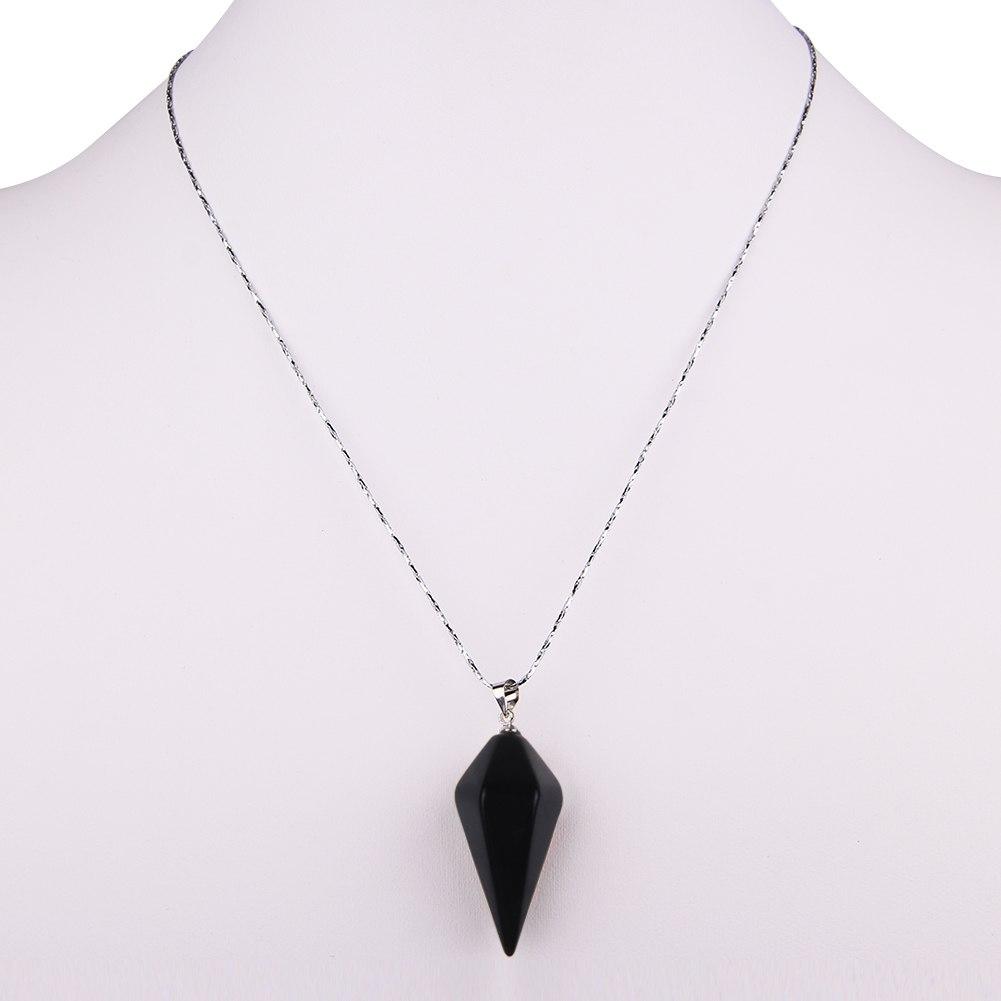 Gemstone Crystal Pendulum Healing Dowsing Reiki Chakra Pendant Chain Necklace
