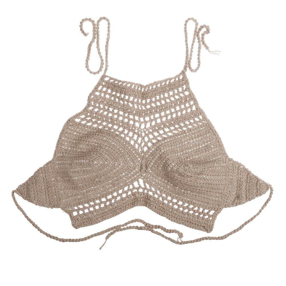 Women Crochet Lace Halter Beachwear Crochet Vest Bra Crop Bustier Cami Tank Tops