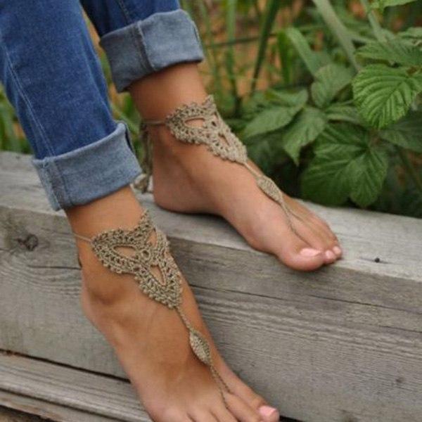 Fußkettchen  Damen-Fuss-Ketten Fußkettchen Knöchel-Armband Barfuß Sandale ...