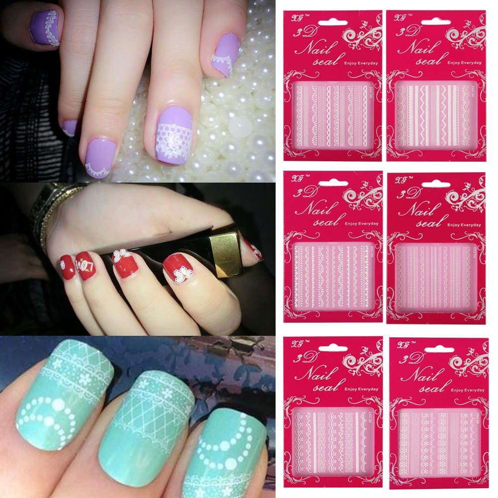 Nail art decoration adhesive 3d nail art stickers decals for 3d nail art decoration