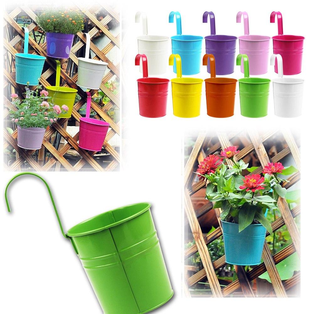 ... Iron Flower Pot Hanging Balcony Garden Plant Planter Home Decor  eBay