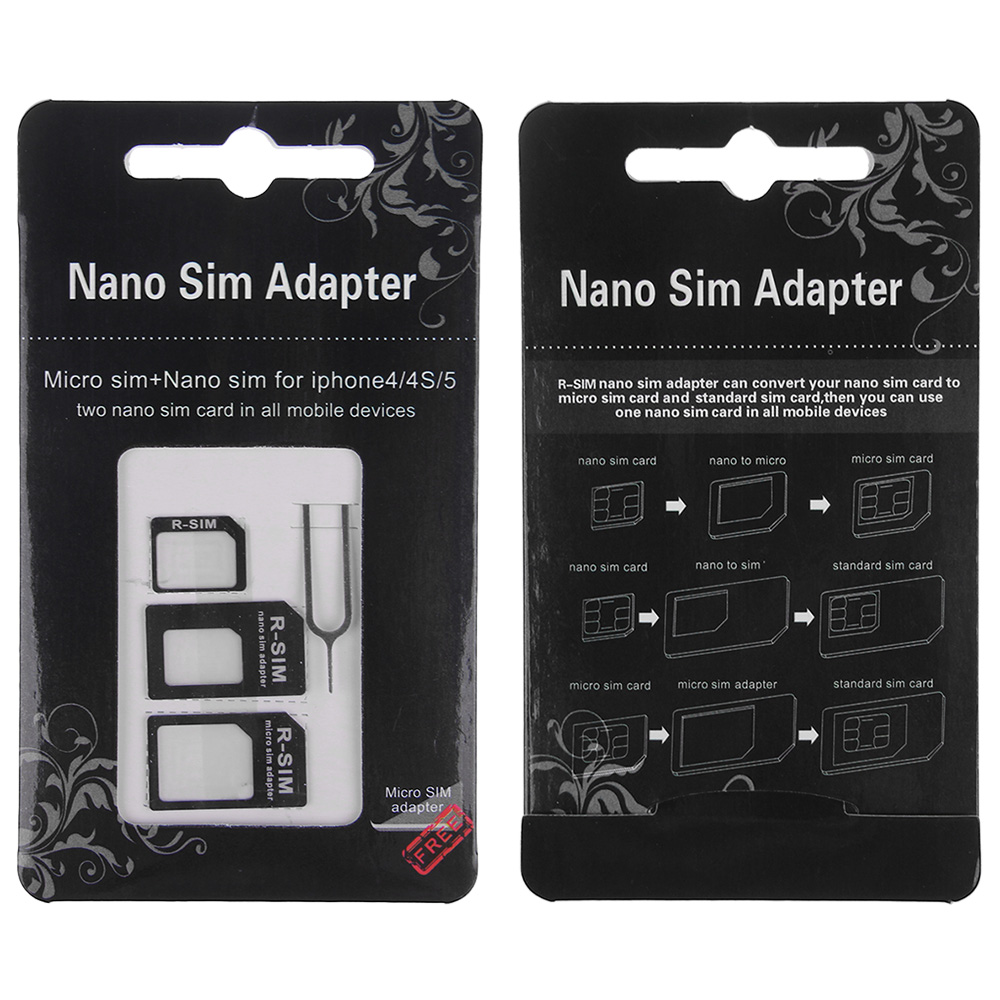 4in1 convert nano sim card to micro standard adapter for iphone 6 5s 5 5c 4s 4 ebay. Black Bedroom Furniture Sets. Home Design Ideas