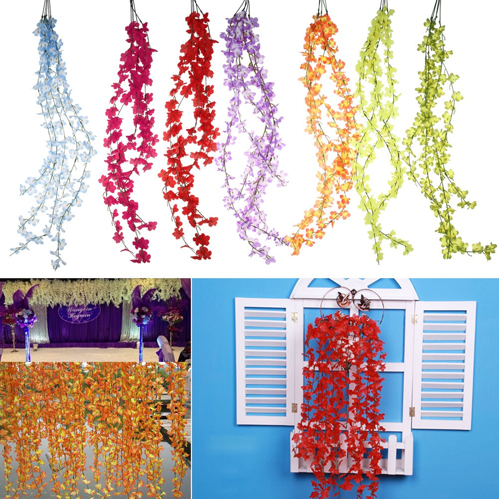 Romatic Artificial Silk Wisteria Fake Garden Flower Vine