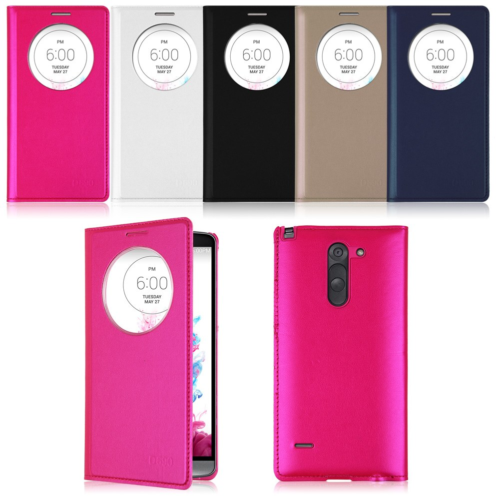 Quick Circle Leather Flip Cover Window View Battery Back Case Skin For LG Phones