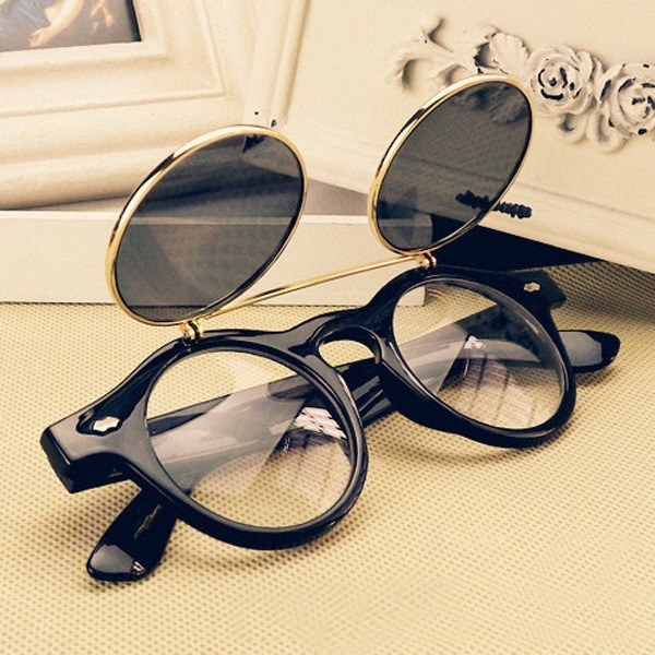 Circle Flip Up Sunglasses  vintage retro steampunk googles sunglasses round circle flip up
