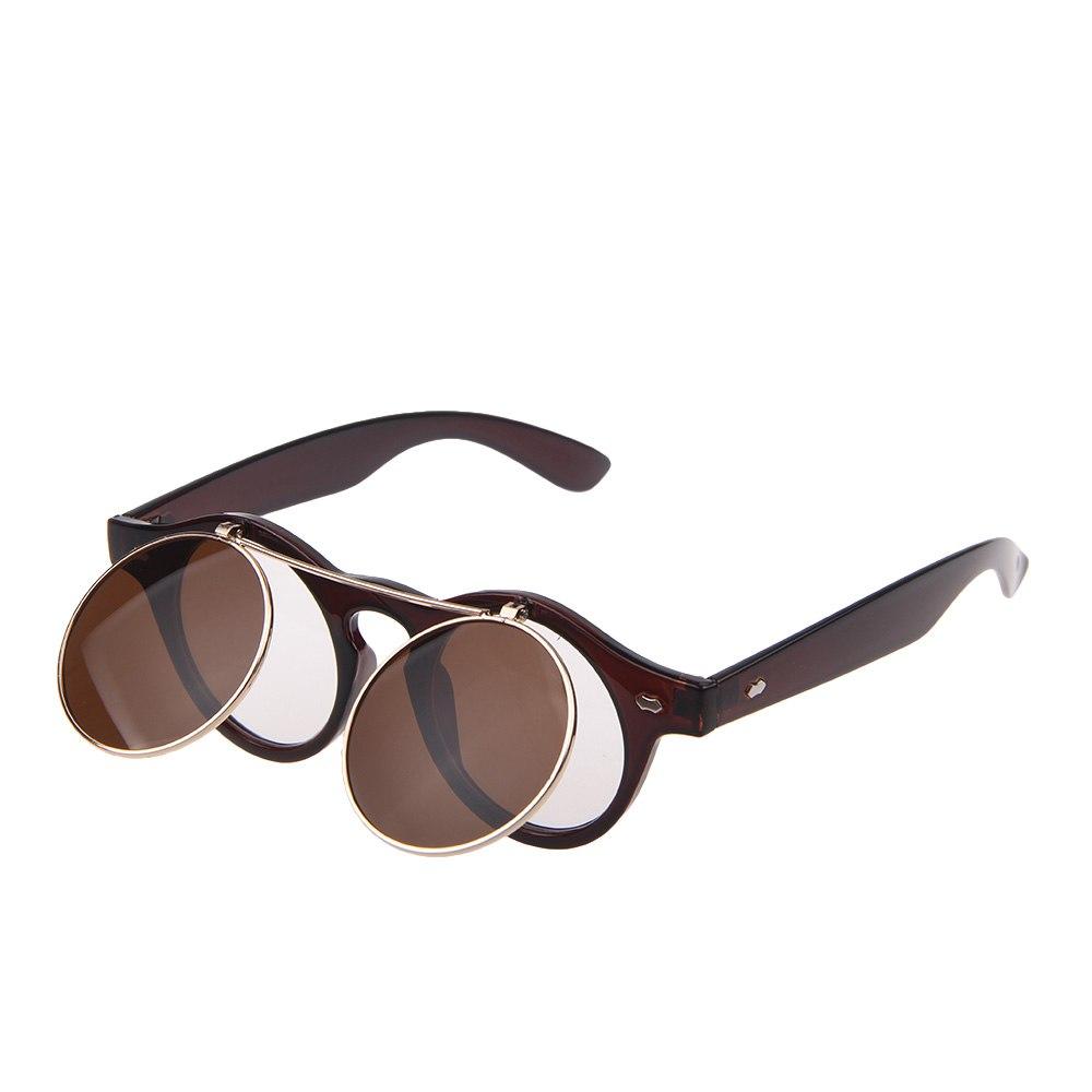 Circle Flip Up Sunglasses  vintage retro steampunk goggles sunglasses round glasses circle