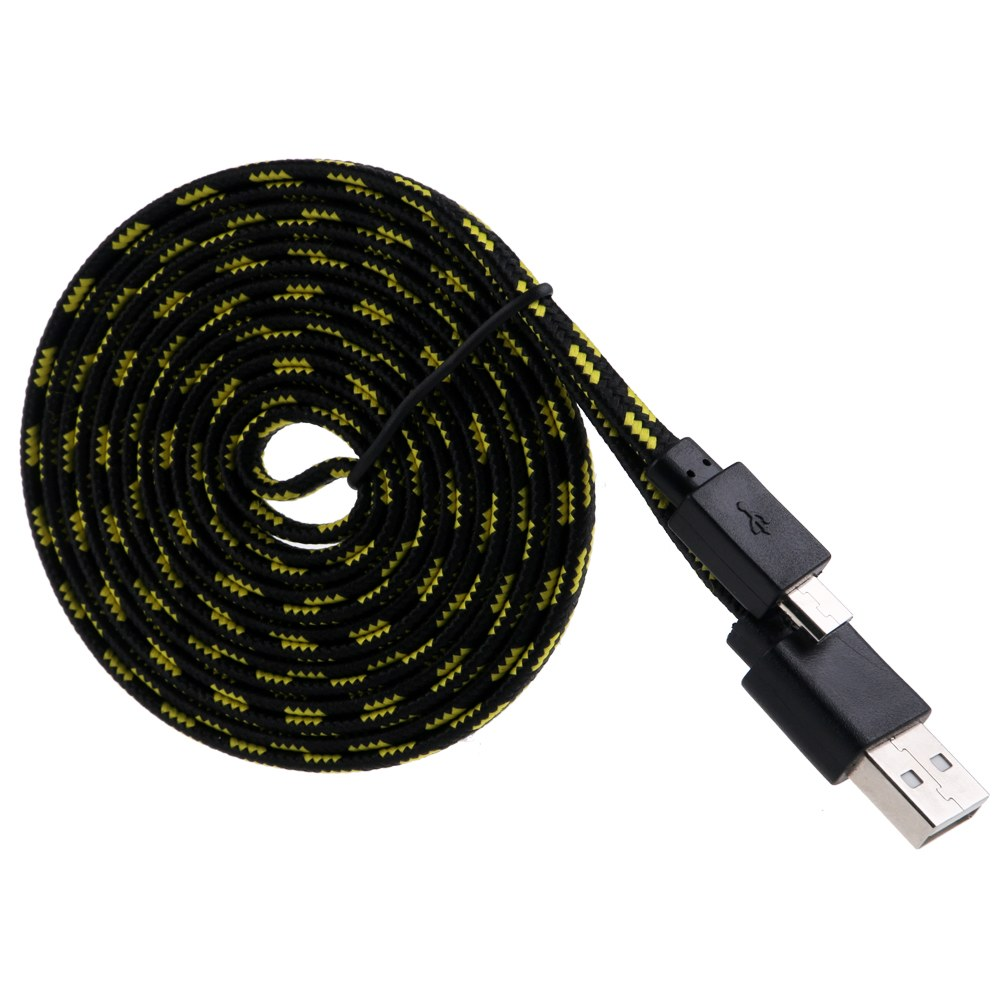 1M/2M/3M Braided Fabric Micro USB Sync Data & Charger Cable Cord For Cell Phone