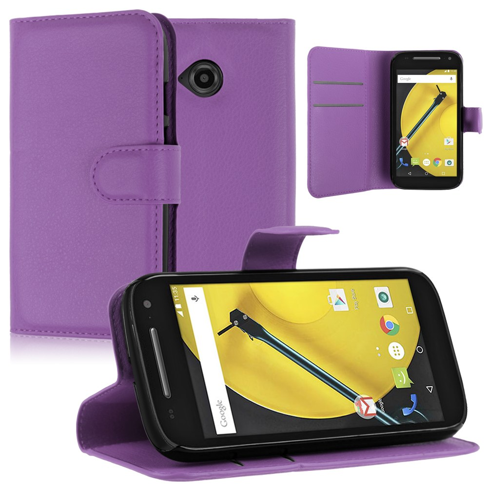 For Motorola Moto E 2nd Gen 2015 Flip Wallet Card Leather Stand Case Cover Pouch