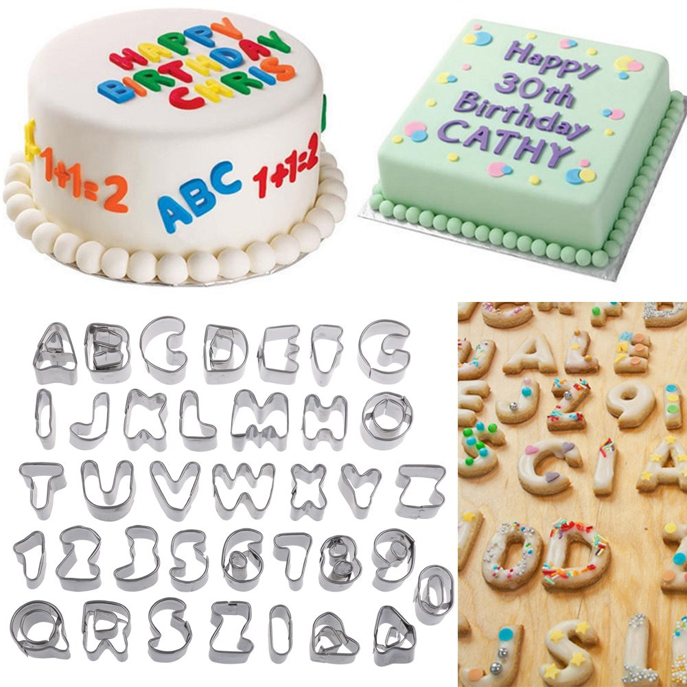 Cake Decorating Letter Cutters : 37pcs Alphabet Letters Numbers Fondant Cake Kids Cookie Decorating Cutters Tools eBay