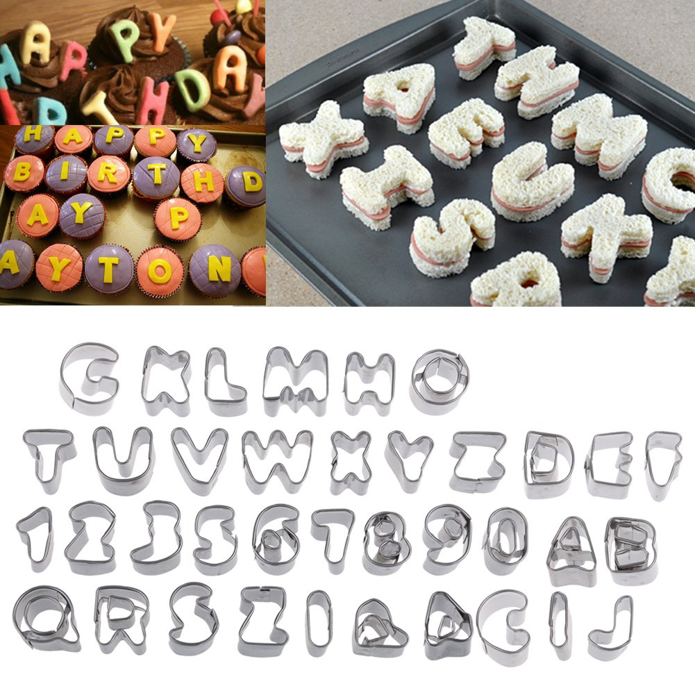Cake Decorating Letter Cutters : 37 Piece Metal Alphabet Number Letter Cake Decorating Set ...