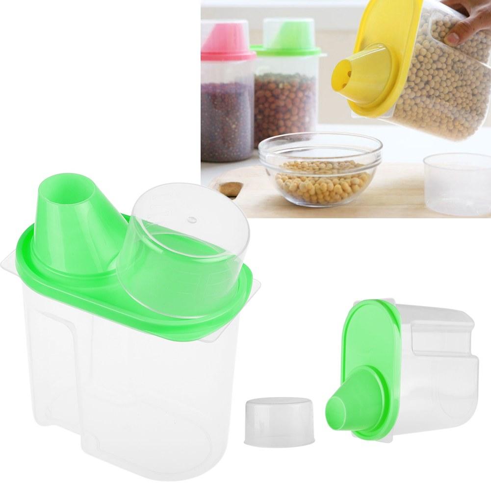 1.8L 2.5L Dry Food Cereal Pasta Flour Storage Beans Dispenser Rice Container Box
