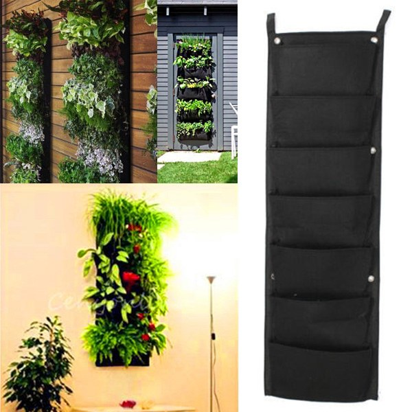 Planter Fence: 7 Pocket Hanging Fence Garden Felt Vertical Flower Vege