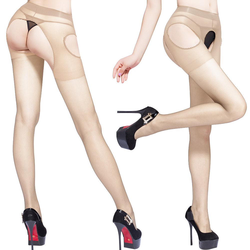 Sexy Women's Crotchless Suspender Tights Sheer Open Crotch Stockings Pantyhose