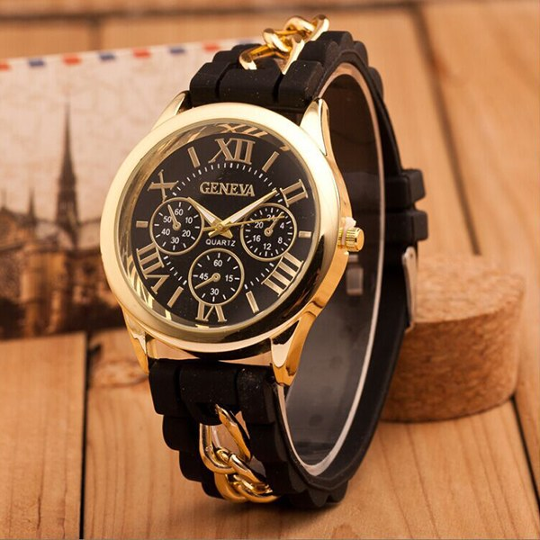 Fashion Women's Geneva Chain Silicone Roman Numerals Analog Quartz Wrist Watch