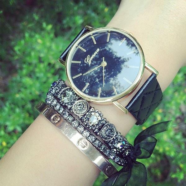 New Fashion Women Casual Geneva Checkers Leather Band Analog Quartz Wrist Watch