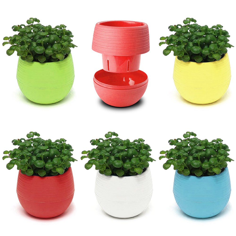 small mini colorful plastic flower planter pots home. Black Bedroom Furniture Sets. Home Design Ideas