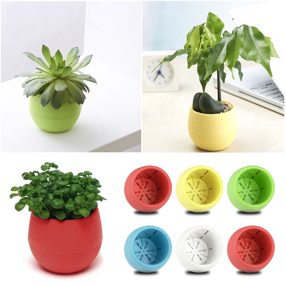 7cm colourful mini round plastic plant flower pot garden. Black Bedroom Furniture Sets. Home Design Ideas