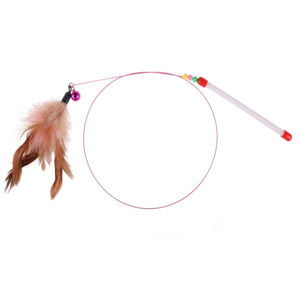 Feather teaser wand cat toy kitty dog pet play fun wire for Cat wand toys