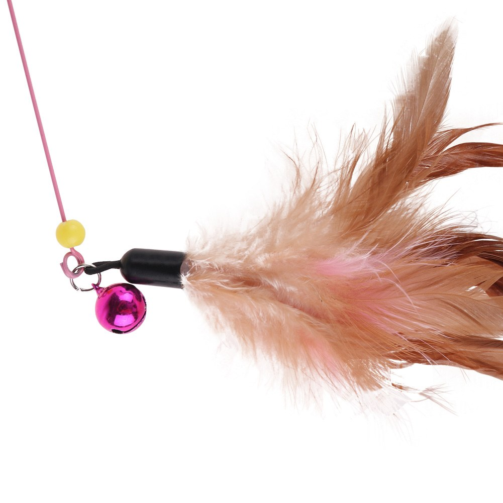 43 kitten feather cat pet toy wire chaser wand teaser for Cat wand toys
