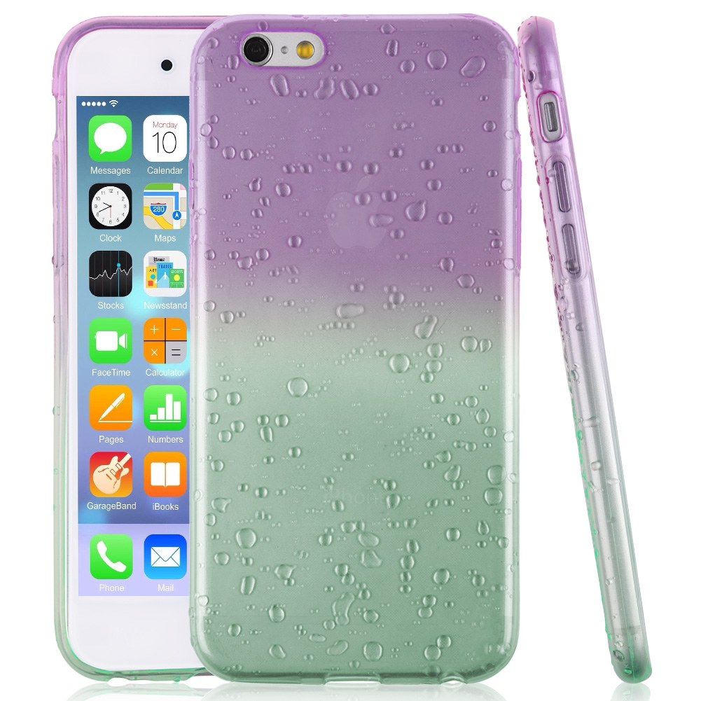 Ultra Thin Clear Soft TPU GEL Ombre 3D Water Rain Drop case cover for iPhone 6